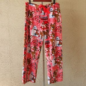 Rudolph The Red Nosed Reindeer Fleece Pants NWOT